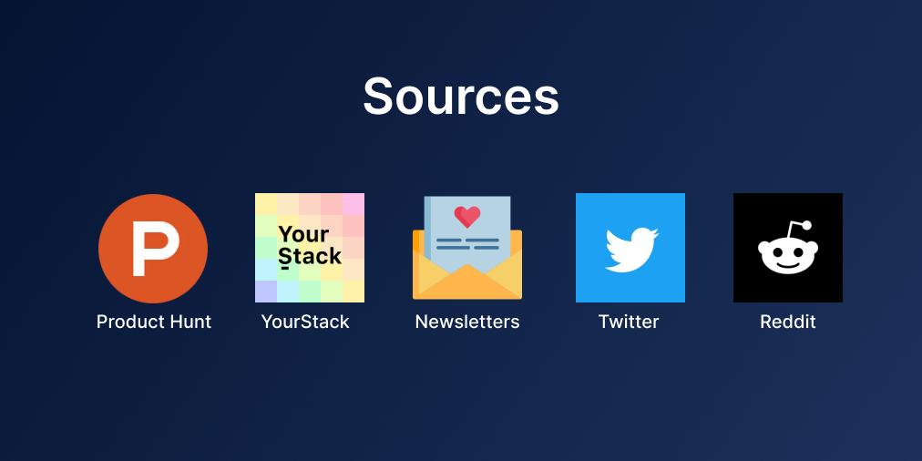 Sources Of Information - Product Hunt, YourStack, Newsletters, Twitter, Reddit