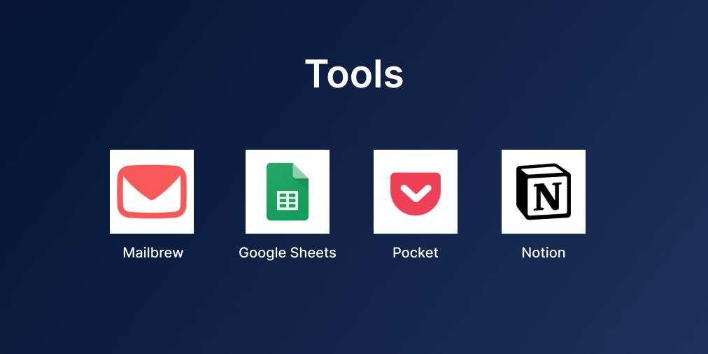 Tools - Mailbrew, Google Sheets, Pocket, Notion